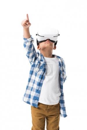 Boy in virtual reality headset
