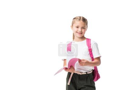 schoolgirl holding textbook