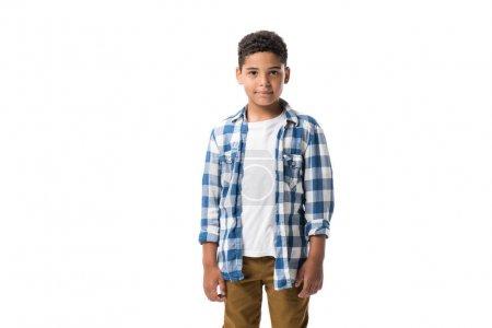 Photo pour Portrait de mignon afro-américain garçon regardant caméra isolé sur blanc - image libre de droit