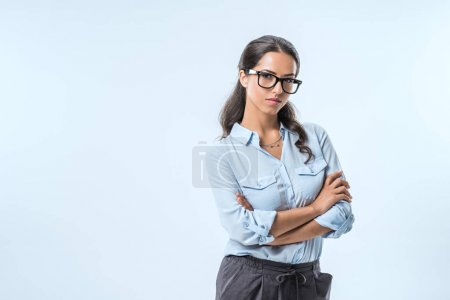confident businesswoman in eyeglasses