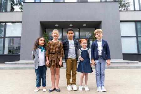 multiethnic kids near school