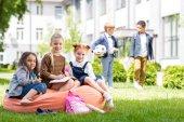 multiethnic kids on schoolyard