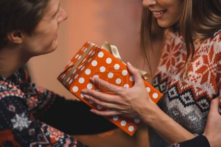couple with christmas present