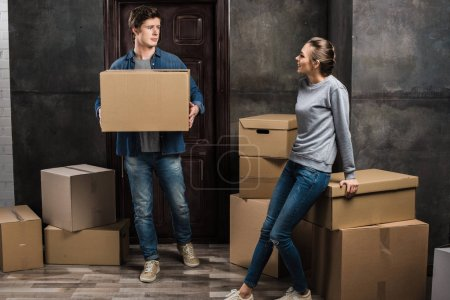 couple moving at new apartment