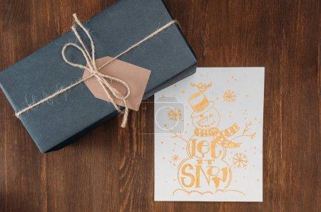 Gift box and christmas card