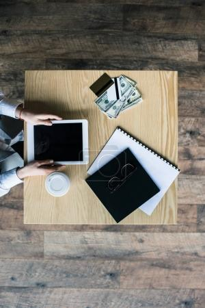 businesswoman using tablet