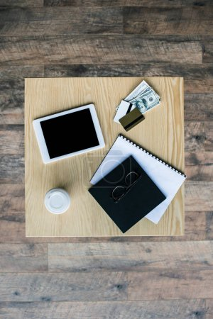 business workplace on table in cafe