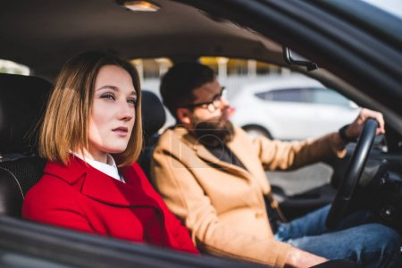 couple riding car