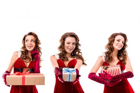 Photo for Collage with three attractive girls in santa costumes holding gifts, isolated on white - Royalty Free Image