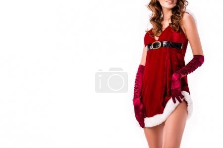 Photo pour Vue recadrée de séduisante fille en costume de Père Noël, isolé sur blanc - image libre de droit