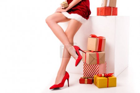 sexy santa girl with presents