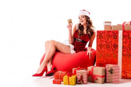 smiling santa girl with presents