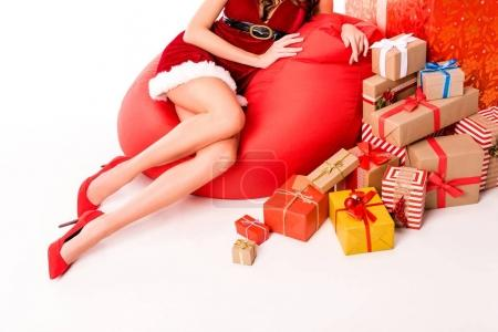 santa girl with presents