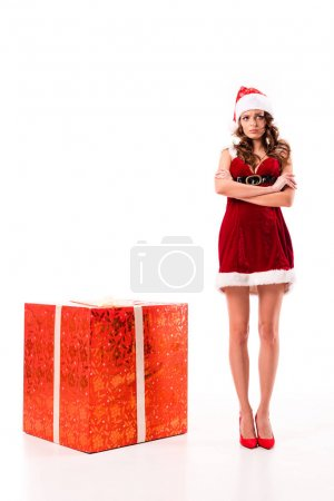 upset santa girl with big gift