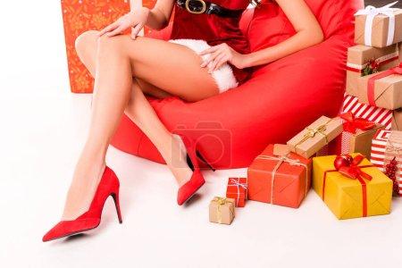 Santa girl with presents
