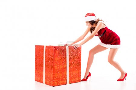 girl pushing big gift box