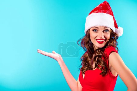 presenting girl in santa hat