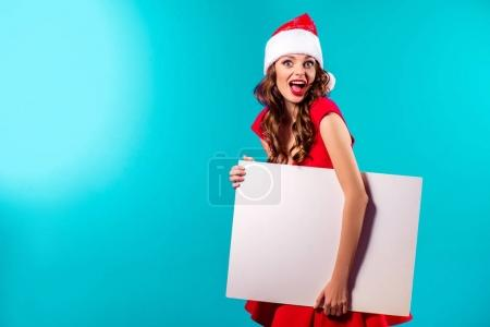 Santa girl with blank board