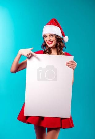 Santa girl with blank card