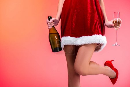 Sexy santa with champagne