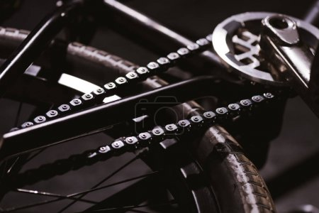 Photo for Close-up view of bmx bicycle chain and wheel - Royalty Free Image