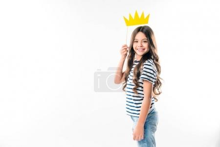 kid with paper crown on stick