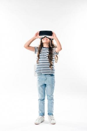 child watching something in VR headset