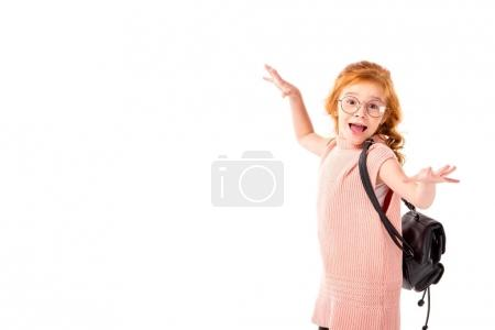 happy redhead kid dancing isolated on white