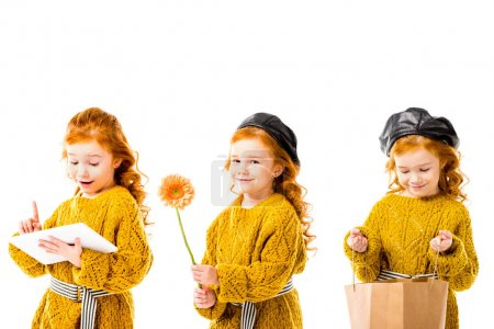 collage with stylish kid holding tablet, flower snd shopping bag, isolated on white