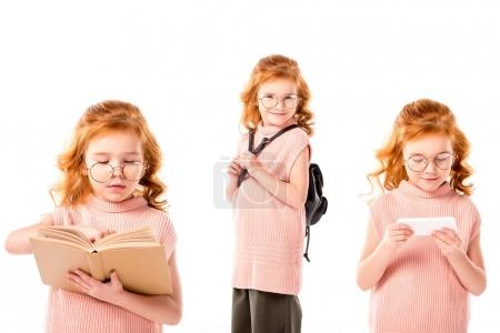 collage with schoolgirl in glasses standing with book, backpack and smartphone, isolated on white