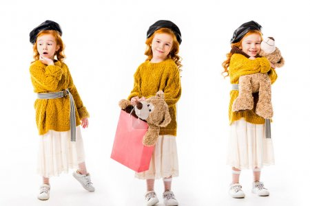 collage with stylish kid standing with teddy bear in different poses on white