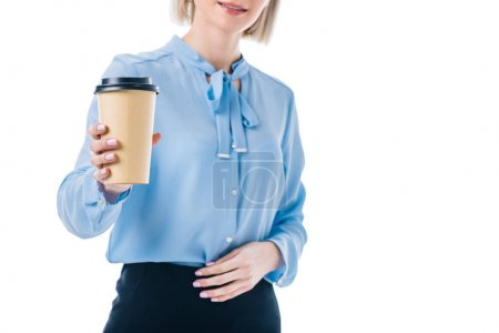 Photo for Cropped shot of woman showing coffee to go in hand isolated on white - Royalty Free Image