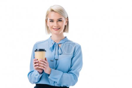 Photo for Portrait of attractive woman with disposable cup of coffee isolated on white - Royalty Free Image