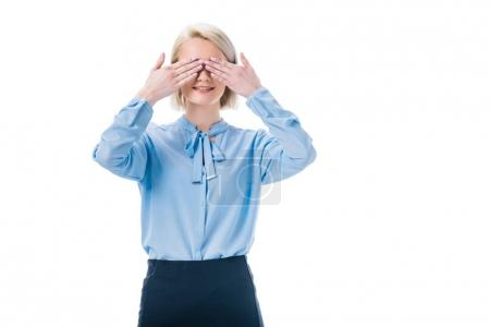 obscured view of woman covering eyes with hands isolated on white