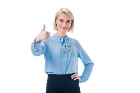 portrait of smiling woman showing thumb up isolated on white