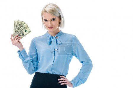 beautiful smiling businesswoman holding dollar banknotes, isolated on white