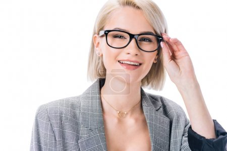 stylish smiling woman posing in eyeglasses, isolated on white
