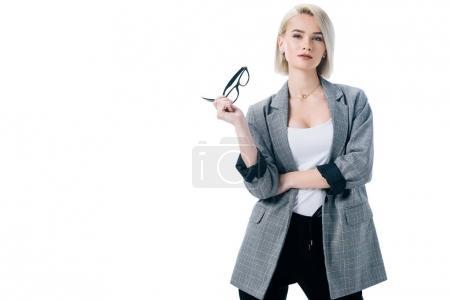 Photo pour Belle femme d'affaires coûteuse avec des lunettes, isolé sur blanc - image libre de droit