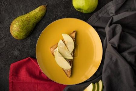 top view of healthy snack for breakfast on plate