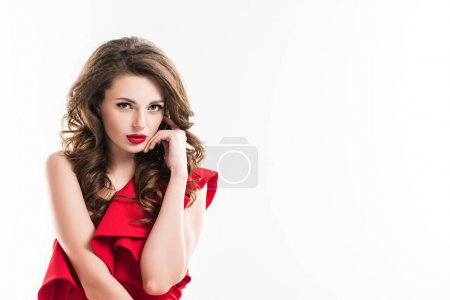 Photo for Fashionable seductive girl touching face with hand and looking at camera isolated on white - Royalty Free Image