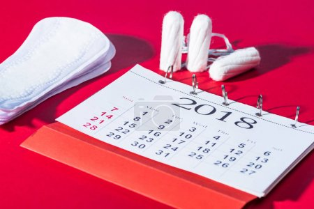 tampons, daily pads and calendar on red
