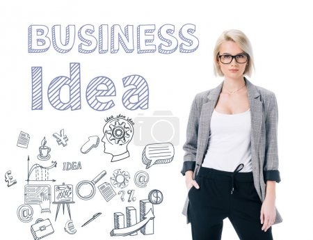 beautiful elegant businesswoman posing in formal wear, isolated on white, business idea concept