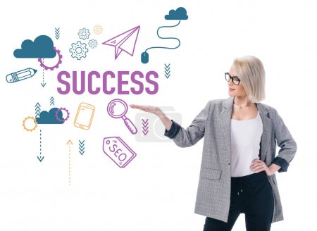beautiful stylish businesswoman presenting success icons, isolated on white