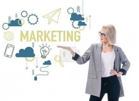 beautiful stylish businesswoman presenting marketing icons, isolated on white