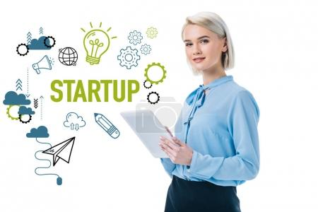 beautiful elegant businesswoman using digital tablet and startup icons, isolated on white