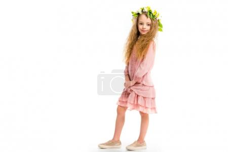 Photo for Child in pink dress wearing wreath band from flowers isolated on white - Royalty Free Image