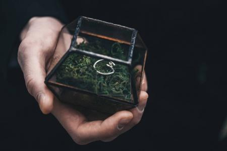close-up partial view of groom holding glass jewelry box with moss and wedding ring