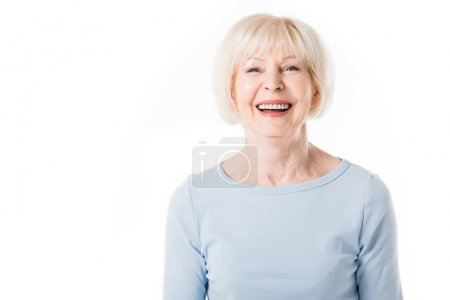 Photo for Portrait of smiling senior woman isolated on white - Royalty Free Image
