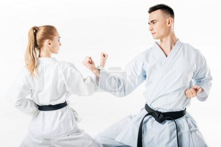 Photo for Karate fighters showing block with hands isolated on white - Royalty Free Image