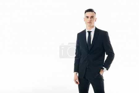 Photo for Handsome businessman looking at camera isolated on white - Royalty Free Image